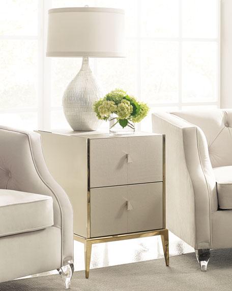 Davis Faux-Shagreen Side Table