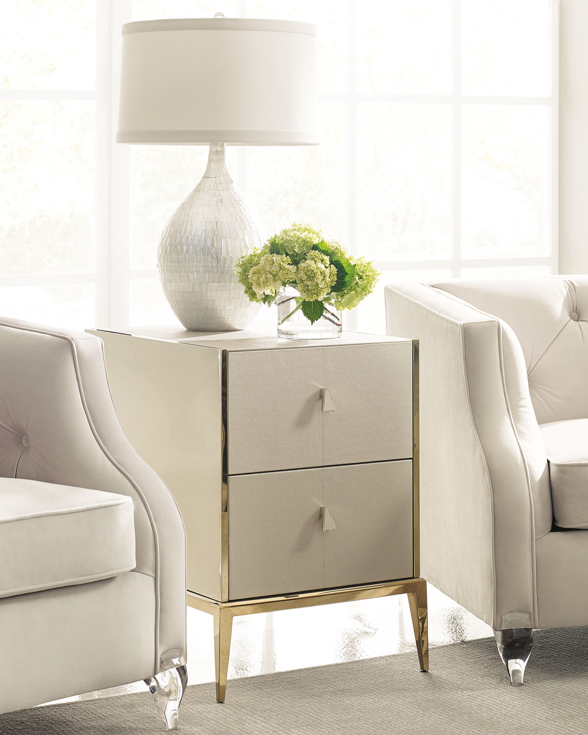 Davis Faux Shagreen Side Table
