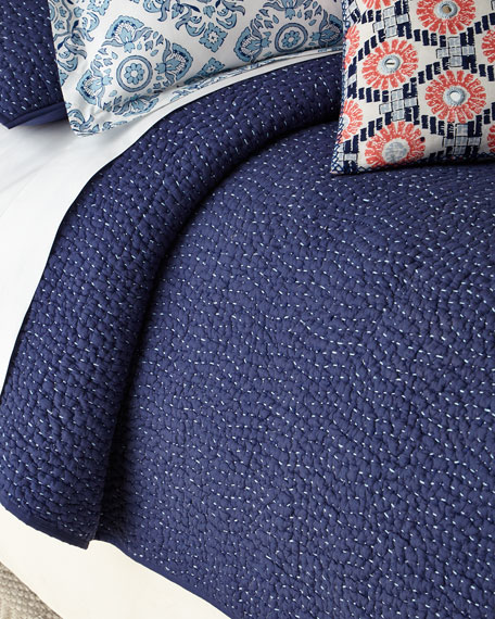 John Robshaw Twin 2-Piece Dyed Indigo Voile Coverlet