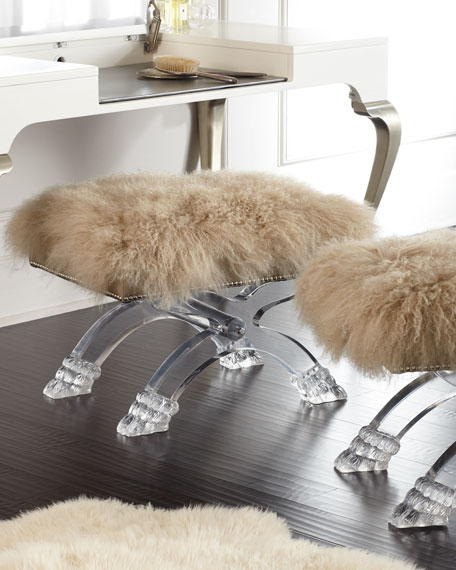Massoud Winston Sheepskin Stool