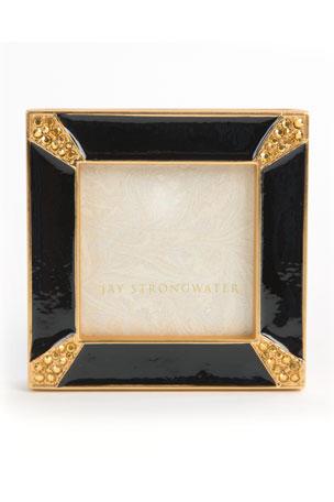 "Jay Strongwater Black Leland Pave Corner 2"" Picture Frame"