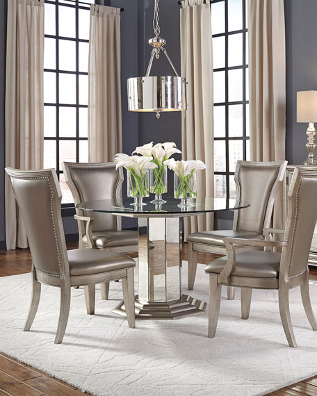 Aria Glass-Top Round Dining Table