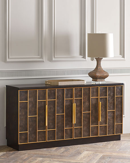 Neil Leather Door Credenza