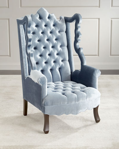 Isabella Tufted Velvet Cut Out Wing Chair