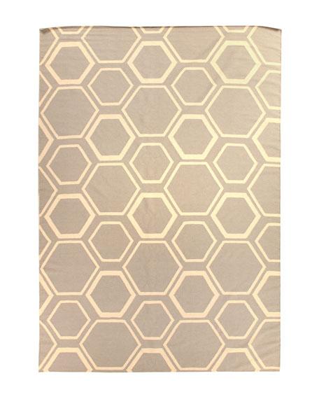 Light Gray Honeycomb Rug, 5' x 8'