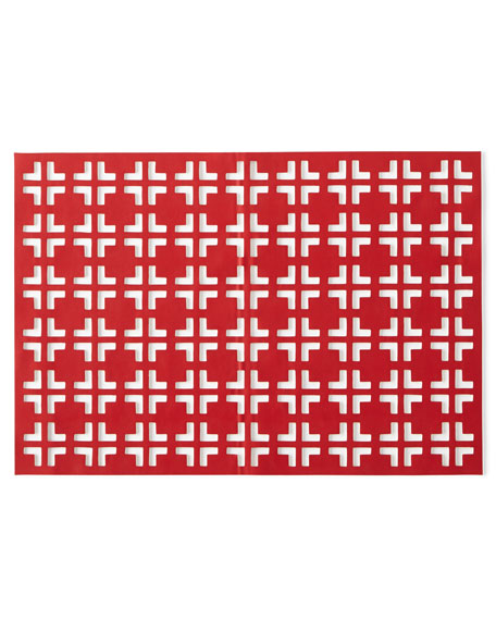 Red/Coral Grid Placemat