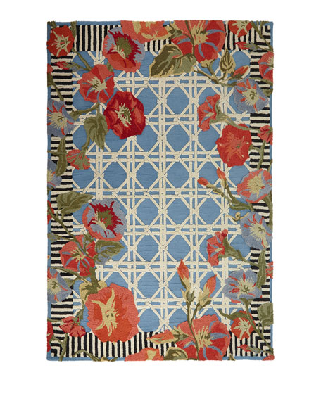 MacKenzie-Childs Blue Morning Glory Indoor/Outdoor Rug, 5' x