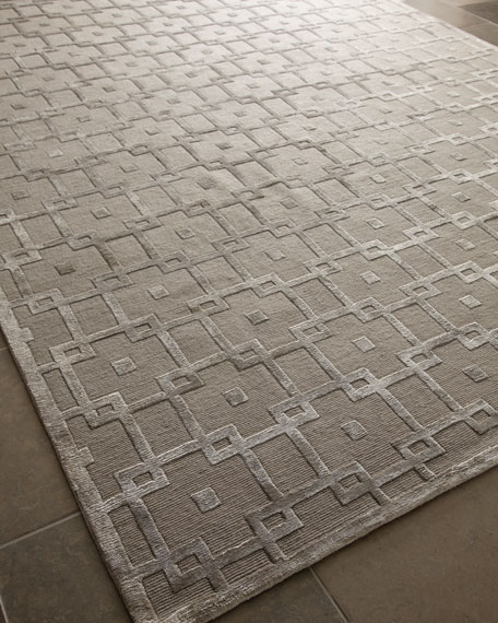 Exquisite Rugs Silver Blocks Rug, 10' x 14'