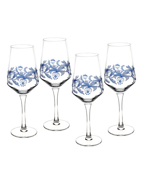 Blue Italian Wine Glasses, Set of 4