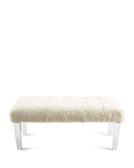 Jaselyn Shearling Bench, Ivory