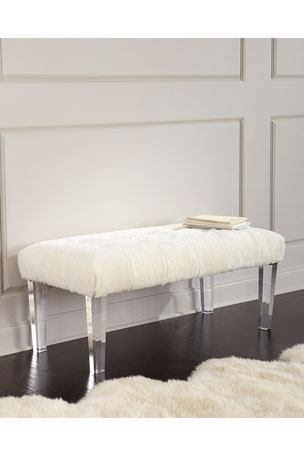 Massoud Jaselyn Shearling Bench, Ivory