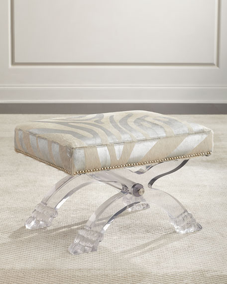Massoud Braddock Silver Zebra-Stripe Ottoman, Gray/White