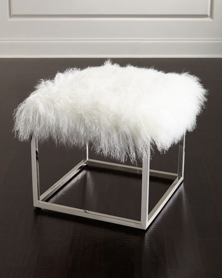 Reno Chrome and Sheepskin Ottoman