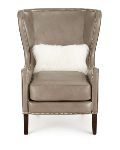 Massoud Pelham Leather Wingback Chair Gray Metallic