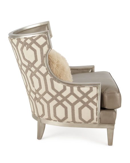 Harding Leather Wingback Chair, Gray Metallic