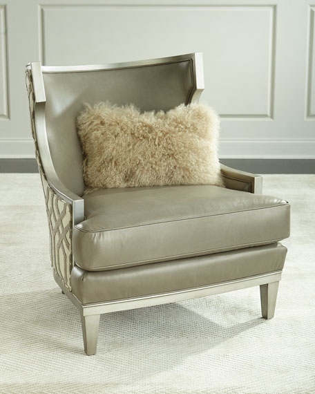 Massoud Harding Leather Wingback Chair, Gray Metallic