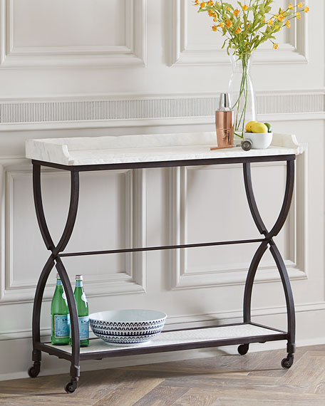 Attractive James Iron And Marble Console Table