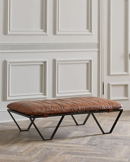 Mateo Leather-Topped Ottoman