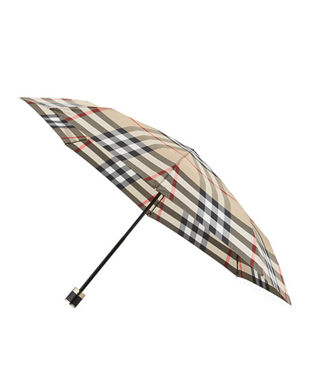 Burberry Trafalgar Packable Check Folding Umbrella, Camel