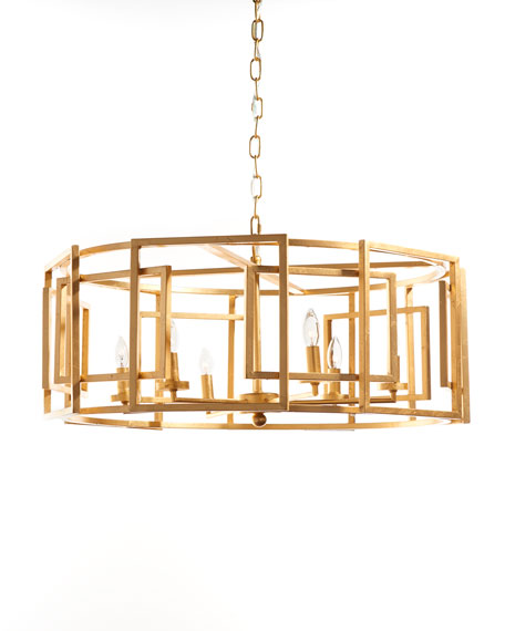 Gold Leaf Square-Motif Drum Chandelier
