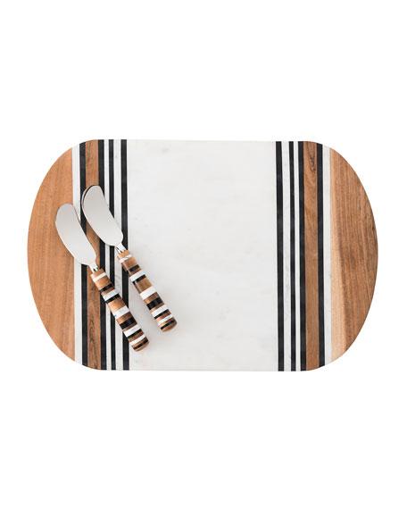 Juliska Stonewood Stripe Serving Board & Spreaders