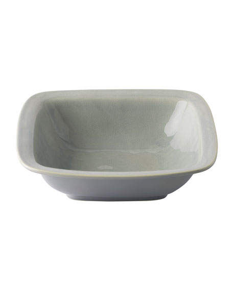 "Puro Mist Grey Crackle 12.5""Rounded Square Serving Bowl"