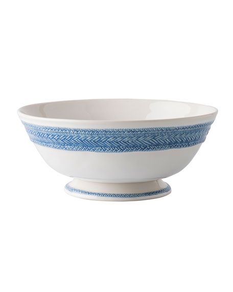 Le Panier White/Delft Blue Footed Fruit Bowl