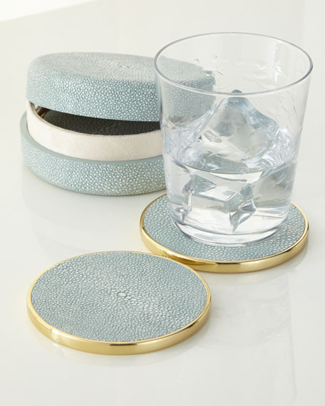 AERIN Faux-Shagreen Coaster Set