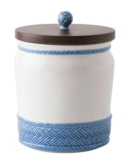 "Le Panier White/Delft Blue Canister, 7.5""T"