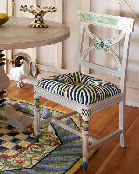 MacKenzie-Childs Grange Pedestal Table & Butterfly Dining Chair
