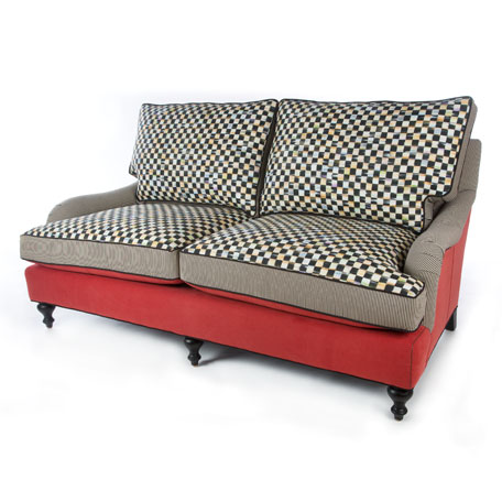 Courtly Check Underpinnings/Tomato Loveseat