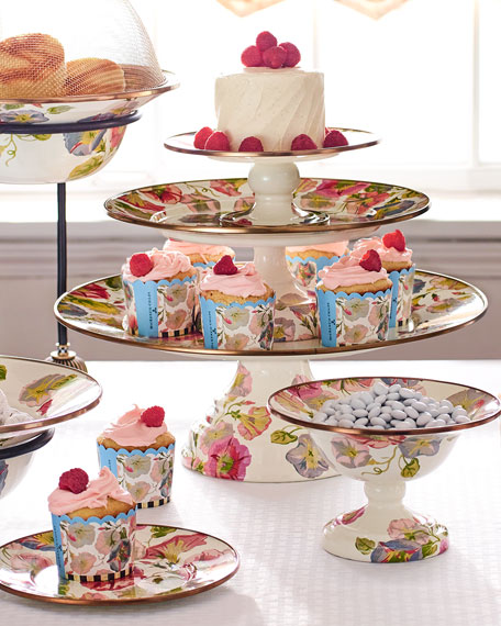 MacKenzie-Childs Small Morning Glory Pedestal Platter