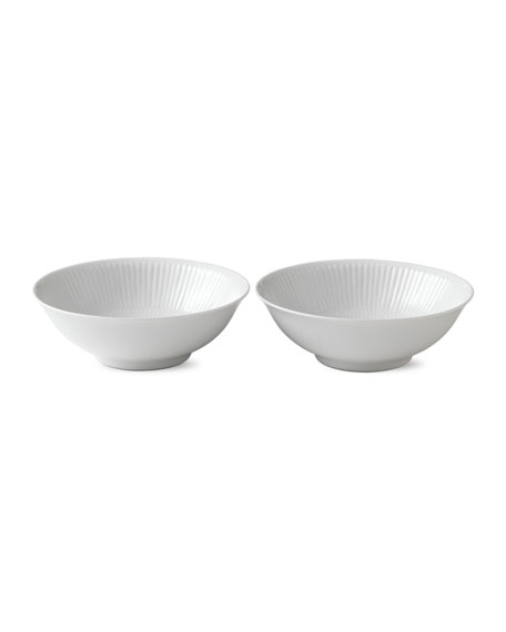 White Plain Fluted Cereal Bowl, Set of 2