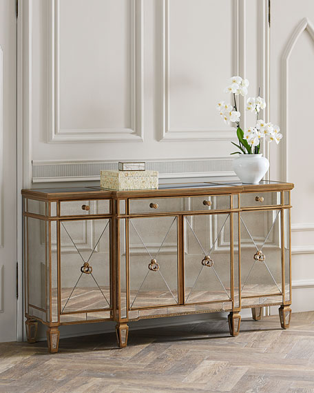 Amelie Mirrored Buffet & Antiqued Mirror Furniture | Neiman Marcus
