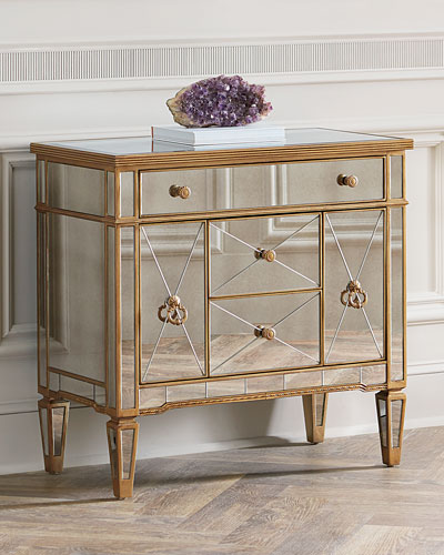 Amelie Mirrored Five Drawer Chest