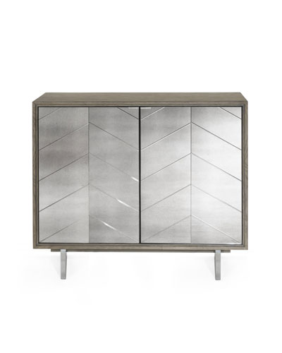 Layna Chevron Mirrored Bar Cabinet