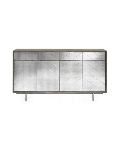 Layna Chevron-Mirrored Console Chest