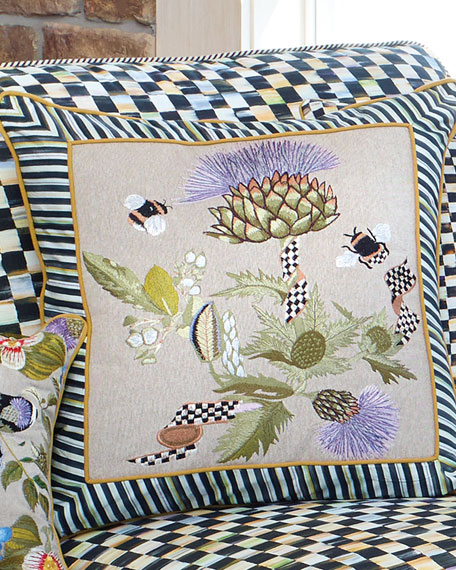 MacKenzie-Childs Large Thistle & Bee Square Pillow