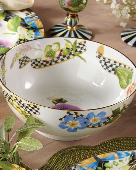 MacKenzie-Childs Thistle & Bee Serving Bowl
