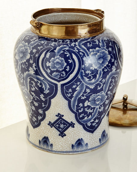 Large Blue and White Lidded Jar