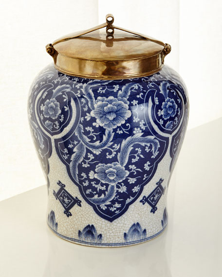 Large Blue and White Lidded Jar and Matching