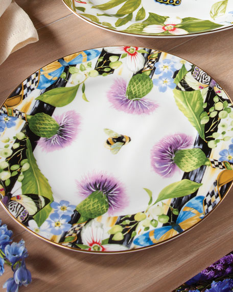 MacKenzie-Childs Thistle & Bee Charger Plate