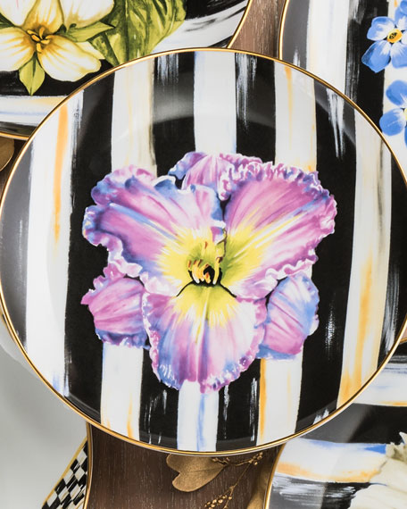 MacKenzie-Childs Iris Thistle & Bee Salad Plate