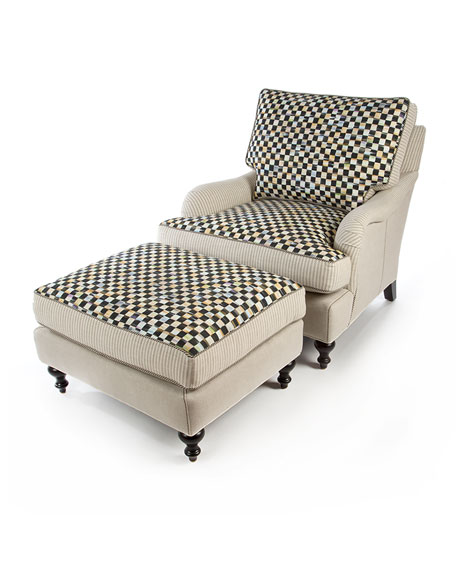 Courtly Check Underpinnings/Flax Ottoman