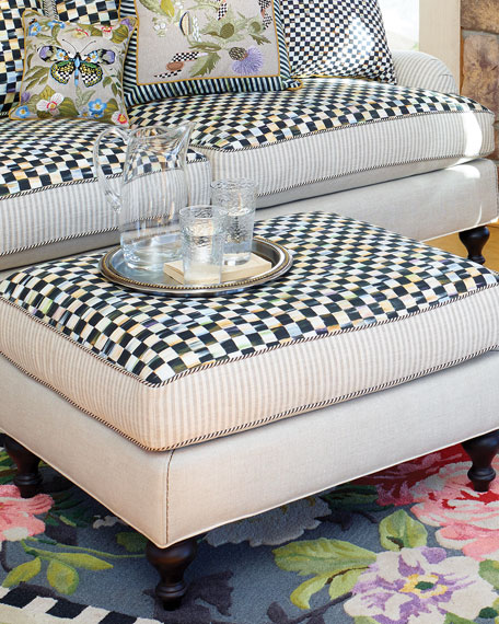 MacKenzie-Childs Courtly Check Underpinnings/Flax Ottoman