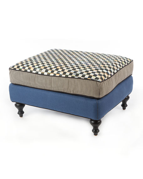 MacKenzie-Childs Courtly Check Underpinnings/Lake Ottoman