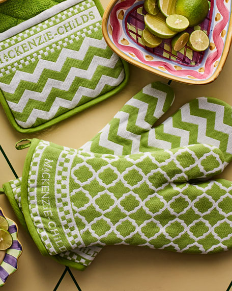 MacKenzie-Childs Key Lime Oven Mitts, Set of 2