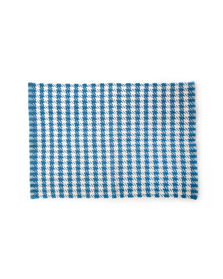MacKenzie-Childs Oxford Blue Houndstooth Scatter Rug