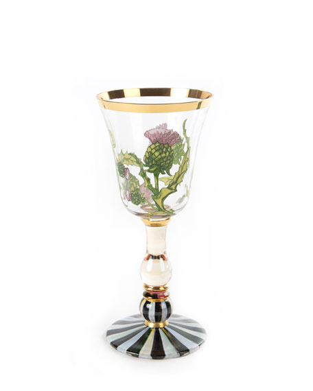 MacKenzie-Childs Thistle White Wine Glass