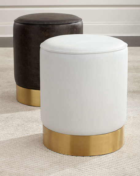 Paulie Round Leather Ottoman